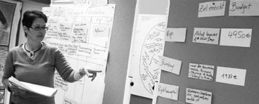 Teilnehmerin praesentiert Zeit- und Ressourcenplan anhand zahlreicher Kaertchen